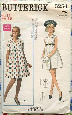 1960s Butterick 5254 - Mod Maternity One-Piece Dress - Vintage Sewing Pattern - Bust 36. $10.00, via Etsy.: