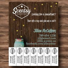 """Chasing Fireflies Marketing Flyer {8.5"""" x 11""""} Customized Tear Away Tags with Scentsy Consultant Information - PRINT YOUR OWN by heartsandarrowsshop on Etsy"""