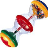Shake Rattle and Roll: toy contains colorful cascading beads to stimulate vision, auditory & motor responses
