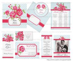 Blue, White Polka Dots & Pink Flowers Wedding  http://www.zazzle.com/girlytemplate/gifts?cg=196957621861400906?rf=238966448205328705
