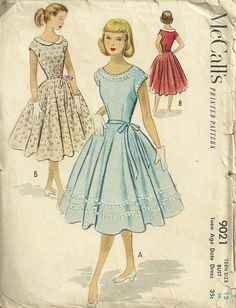 McCalls 9021 1950s Teen Date Dress Pattern with Full Skirt by mbchills, womens vintage sewing pattern