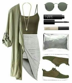 A fashion look from September 2015 featuring H&M skirts, NIKE sneakers und AB A Brand Apart clutches. Browse and shop related looks. Mode Outfits, Trendy Outfits, Fall Outfits, Summer Outfits, Red Skirt Outfits, Look Fashion, Teen Fashion, Fashion Outfits, Womens Fashion
