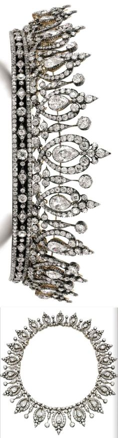 Diamond tiara/necklace bel. to Dchss Roxburghe, last quarter 19C. Fleur de lys and scroll motifs, swing set with graduated pearshaped diamonds, on a band composed of lozenge and trefoil motifs, set throughout with cushion-shaped and rose diamonds. The band forms a separate bandeau tiara. See also adaptable tiaras Images Sotheby's.