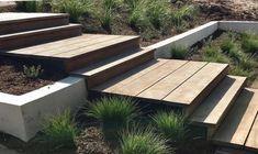 Outdoor Rooms, Outdoor Living, Outdoor Decor, Modern Garden Design, Landscape Design, Sloped Garden, Garden Steps, House Goals, Backyard Landscaping
