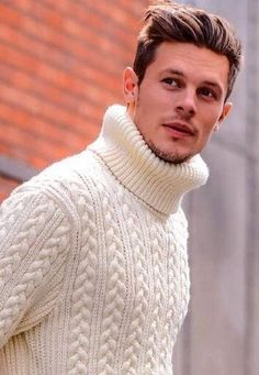 Mens Cable Knit Sweater, Mens Turtleneck, Men Sweater, Turtle Sweaters, Turtle Neck Men, Winter Outfits Men, Cool Sweaters, Well Dressed Men, Slim Fit