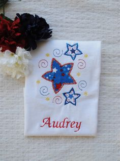 July 4th Ice Cream Embroidered Shirt  Fourth of July Monogrammed Shirt  Independence Day  Patriotic Shirt  Girl/'s July Fourth Shirt