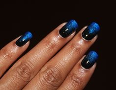 Bellezza: Nail Challenge Day 10: Blue Black Gradient Nails. Nabi black & China Glaze FROSTBITE.