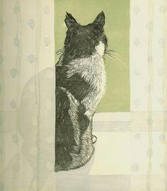 Tuxedo Cat on a Windowsill by Vanessa Lubach - linocut x Linocut Prints, Art Prints, Block Prints, Cat Drawing, Cat Art, Pet Portraits, Art Forms, Female Art, Printmaking