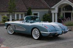 nice Silver Blue 1958 Corvette Resto-Mod...  Holy wheels! Check more at http://autoboard.pro/2017/2017/03/04/silver-blue-1958-corvette-resto-mod-holy-wheels/