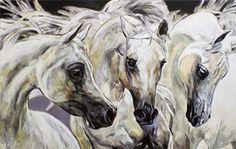 WHITE ARABIAN HORSES / WEISSE ARABISCHE PFERDE Jana Fox & Oleg Dyck [J&O Art Studio Cologne]  43.3 '' x 27.5 '' | 110 x 70 cm  Alkyd, acrylic, Oil  on canvas | Alkyd, Acryl, Öl  auf Leinwand   2015