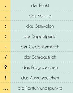 Satzzeichen Im Deutschen Diesmal Habe Ich Entsprechende Worterbucheintrage Duden De Zu Jedem Satzzeichen Hinzugefugt Deutsch Lernen Deutsch Lernen