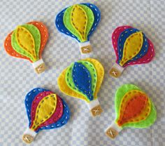 6pc Hot Air Balloon Felt Applique Set by Dogwoodcorner on Etsy, $6.00