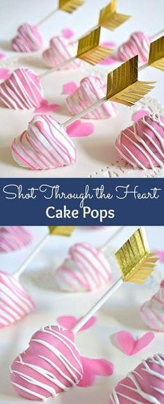 Shot Through the Heart Cake Pops! These easy to make heart-shaped cake pops are a super cute Valentine's Day treat! Heart Shaped Cakes, Heart Cakes, Mini Cakes, Cupcake Cakes, Cake Cookies, Baking Cookies, Sweets Cake, Cake Pop Sticks, Valentines Day Cakes