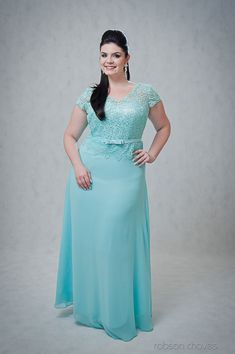 Vestido azul turquesa longo jeannie