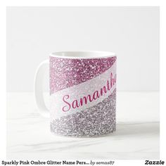 Sparkly Pink Ombre Glitter Name Personalized Coffee Mug Personalized Coffee Mugs, Unique Coffee Mugs, Sparkly Background, Glam And Glitter, Purple Ombre, Art Pieces, Kids Shop, Tableware, How To Make