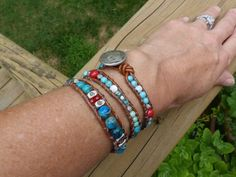 Leather beaded wrap bracelet  turquoise blue by BlueGateStudio, $45.00