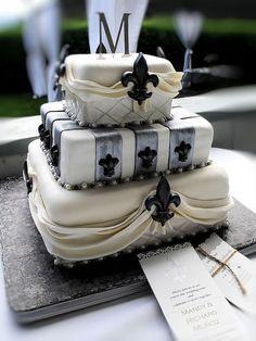 Fleur de lis wedding cake 3 by Cake Rhapsody, via Flickr