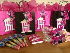 Cinema theme party goodies FILLED PARTY BAGS From party bags for kids Find us on Facebook  07799434226 Crofty75@aol.com Http://partybagsforkids.weebly.com