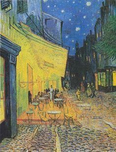 Vincent Van Gogh A Sidewalk Cafe At Night 1957 Color Lithograph Vincent Van Gogh, Monet, Paul Gauguin, Norman Rockwell, Mondrian, Rembrandt, Van Gogh Arte, Sidewalk Cafe, Art Ancien