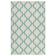 Indoor/Outdoor Laguna Ivory and Seafoam Trellis Flat-Weave Rug (3'0 x 5'0)