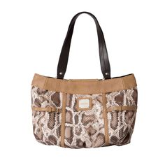 You don't have to be on safari to look—and feel—adventurous! The fabulous Bianca Shell for Demi Miche Bags lets you take a walk on the wild side with undeniable style. Matte distressed snakeskin print faux leather in various shades of brown and cream combines with rivet details, tan accents and a buckle to create an exciting fresh look. Long zippered back pocket. Streamlined design with oval bottom. *Miche Canada* #miche #michecanada #michefashion #purses #handbags
