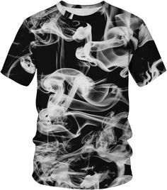 Women Smog Short Sleeve Black T-shirt Pop Fashion, Fashion News, Womens Fashion, Spandex Material, Tank Shirt, Printed Tees, Mens Tees, Sleeves, Shirts