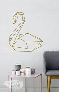 Swan géométrique Wall Decal Art pariétal Swanes par LivingWall