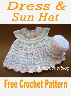 Free crochet pattern for a lovely dress and sun hat. Available on Free crochet pattern for a lovely dress and sun hat. Available on Debbie Attard sewing and wool Crochet Baby Dress Free Pattern, Baby Dress Patterns, Baby Girl Crochet, Crochet Patterns, Crochet Baby Dresses, Baby Doll Clothes, Crochet Doll Clothes, Knitting Dolls Clothes, Crochet Doll Dress
