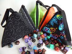 Triangular dice bags on Etsy.