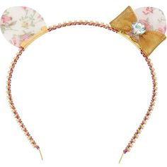 Betsey Johnson Vintage Kitty Headband (50 AUD) ❤ liked on Polyvore featuring accessories, hair accessories, headwear, multi, new arrivals, hair bow accessories, head wrap headband, woven headbands, hair bands accessories and floral headwrap