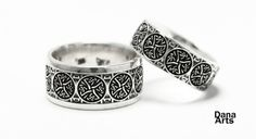 Iron Cross wedding band by DanaArts on Etsy. $250.00 each, via Etsy.