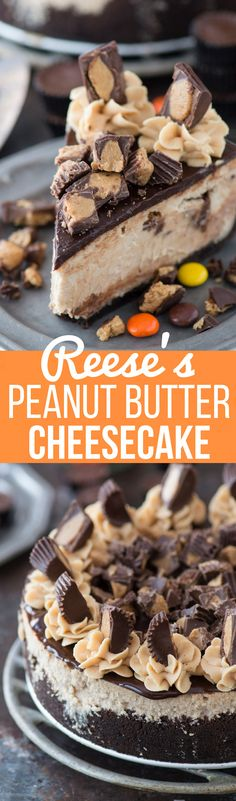 This is an extreme Reese's peanut butter cheesecake with a chocolate graham cracker crust, peanut butter cheesecake stuffed with peanut butter cups, and chocolate ganache!