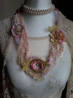 fairy,necklace, fabric,flower blooms, shabby chic,wedding,blooms,hand made,