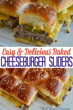 Easy Baked Cheeseburger Sliders are made with one large burger patty and served on soft Hawaiian rolls. The BEST way to serve sliders! appetizers sliders Easy Baked Cheeseburger Sliders - This Delicious House Cheeseburger Sliders, Beef Sliders, Sliders Burger, Mini Hamburger Sliders, Bbq Burger, Cheese Burger, Burger Toppings, Junk Food, Beef Recipes
