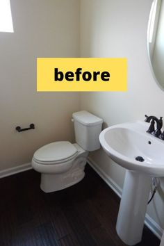 Update your builder grade for cheap with these diy ideas. Quick bathroom upgrades on a budget diy ideas. Easy updates to old bathrooms. #hometalk