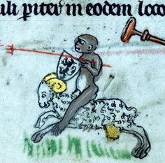 Monkey knight riding a golden-scrotum ram, psalter, Ghent ca. 1315-1325 (Walters, W.82, fol. 194v)