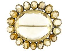 Victorian Silver Gilt Citrine Brooch from the Antique Jewellery Company, £525