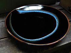 Nina Davis, Plate, Black Tenmoku with blue swirl.