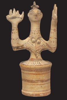Knossos - Idol of a goddess with raised hands, made of terracotta. The figurine was found in the Shrine of the Double Axes at the palace of Knossos. Postpalatial Period 1350 -1300 BC (Heraklion Museum)
