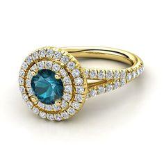 Round London Blue Topaz 14K Yellow Gold Ring with Diamond | Eloise Ring (6mm gem) | Gemvara