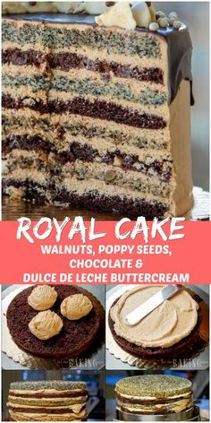 Russian Royal Cake (Korolevskiy Cake) - Layers of walnut, poppyseed, cherry and chocolate cakes frosted with Dulce De Leche Buttercream and drizzled with chocolate Delicious Cake Recipes, Best Cake Recipes, Yummy Cakes, Sweet Recipes, Russian Cakes, Russian Desserts, Chocolate Cake Frosting, Chocolate Cakes, White Chocolate