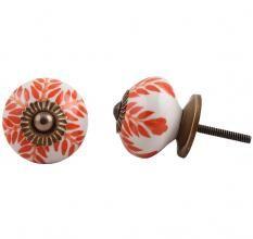 Orange Leaf Ceramic Knob
