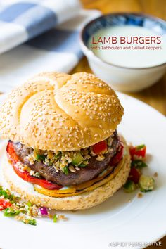 Amazing LAMB BURGERS with Tabbouleh and Grilled Peppers on ASpicyPerspective.com #burgers #lamb