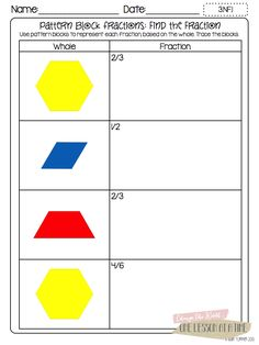 Fraction Printables: Fraction Circles, Cuisenaire Rods, and Pattern Blocks (free in the post)