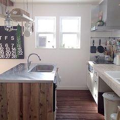 作業スペースを分けた分離型アイランドキッチン