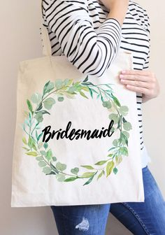 Wedding Bridal Party Tote Bags Bridesmaids Gifts for Bride and Friends, Greenery Wreath Bags for Wedding (Item BGR300) by www.ZCreateDesign.com... or shop ZCreateDesign on Etsy