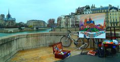 Pont au Double, Paris. Art