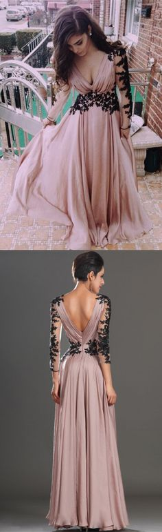 long sleeves homecoming dress, blush pink homecoming dress with black lace, 2017 long homecoming dress prom dress