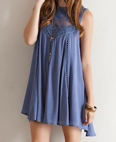 A cute oversized flowy slate blue colored bohemian lace dress. Soft blue toned sheer yoke upper lace adorns this darling flirty vintage style dress. - rayon - hand wash cold, lay flat to dry - im Dress Outfits, Casual Dresses, Short Dresses, Cute Outfits, Summer Dresses, Bohemian Lace Dress, Dress Skirt, Dress Up, Estilo Hippie