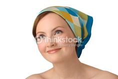 Stock Photo : Portrait of young girl in kerchief.